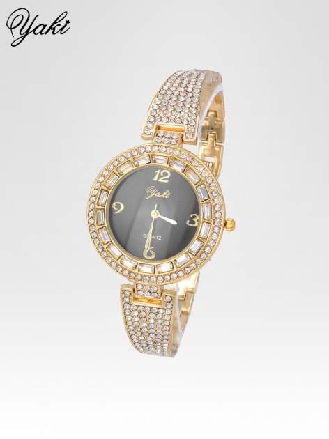 Złoty zegarek biżuteryjny z czarną tarczą i cyrkoniami                                  zdj.                                  2