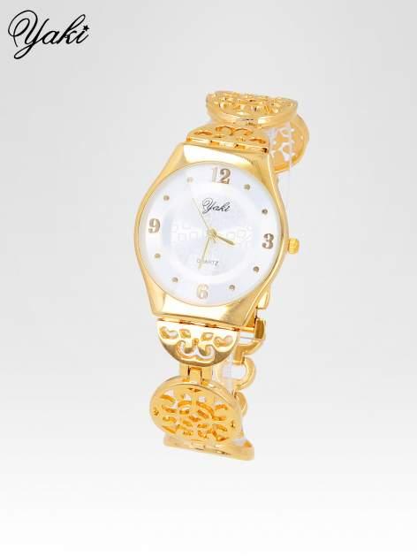 Złoty zegarek damski na ażurowej bransolecie                                  zdj.                                  2