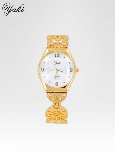 Złoty zegarek damski na ażurowej bransolecie                                  zdj.                                  1