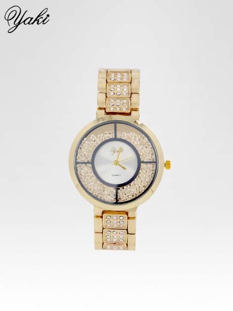 Złoty zegarek damski na bransolecie z białą cyrkoniową tarczą