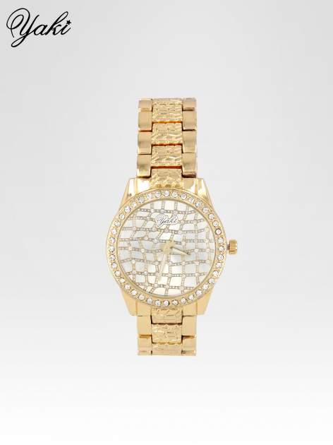 Złoty zegarek damski na bransolecie z cyrkoniową kopertą