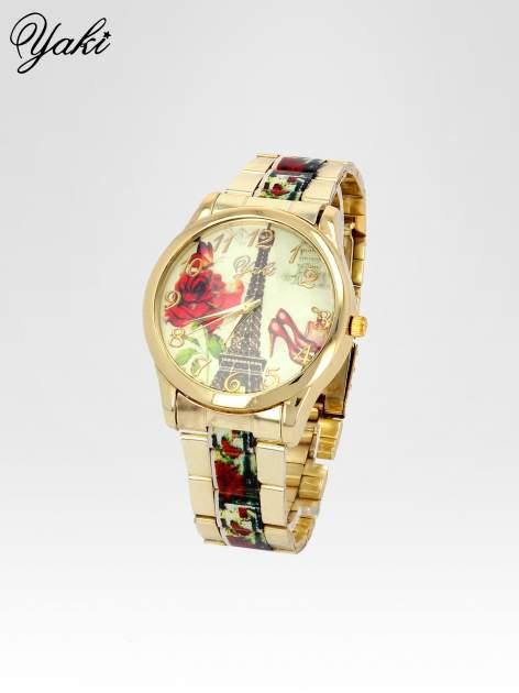 Złoty zegarek damski na bransolecie z motywem Paryża                                  zdj.                                  2