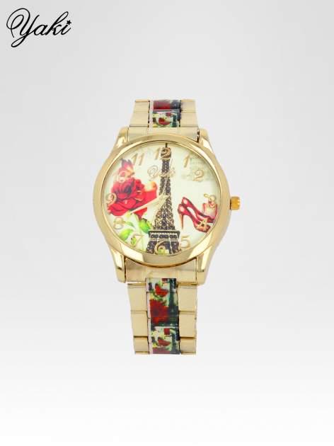 Złoty zegarek damski na bransolecie z motywem Paryża                                  zdj.                                  1