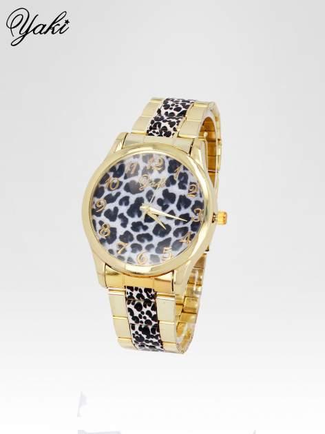 Złoty zegarek damski na bransolecie z motywem panterkowym                                  zdj.                                  2