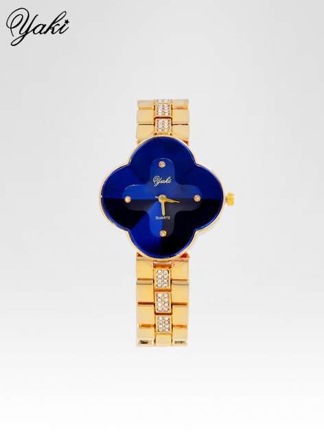 Złoty zegarek damski na bransolecie z niebieską tarczą koniczyną