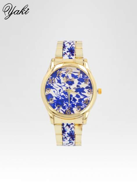 Złoty zegarek damski na bransolecie z niebieskim motywem kwiatowym                                  zdj.                                  1