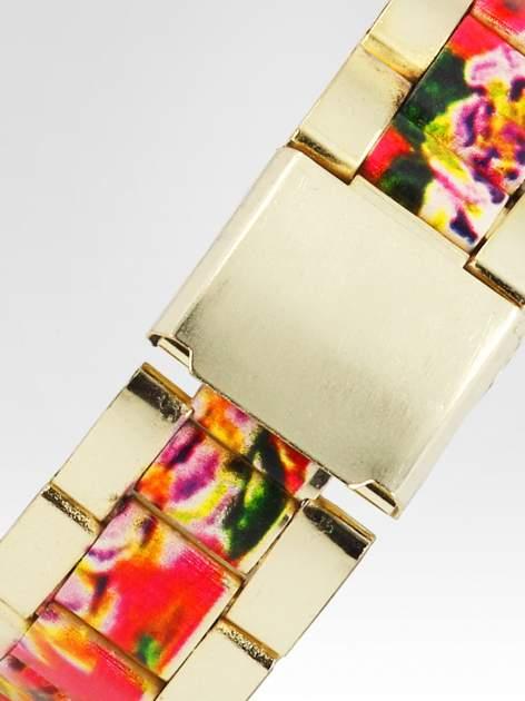 Złoty zegarek damski na bransolecie z różowym motywem kwiatowym                                  zdj.                                  4
