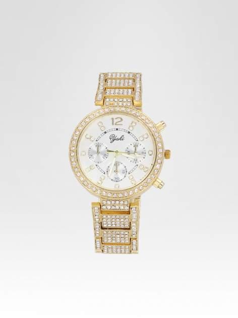 Złoty zegarek damski na bransolecie zdobiny cyrkoniami                                  zdj.                                  1