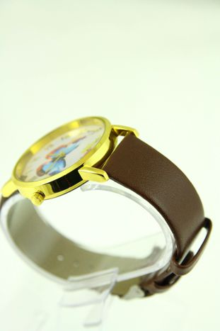 Złoty zegarek damski na brązowym pasku                                  zdj.                                  2