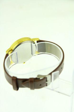 Złoty zegarek damski na brązowym pasku                                  zdj.                                  3