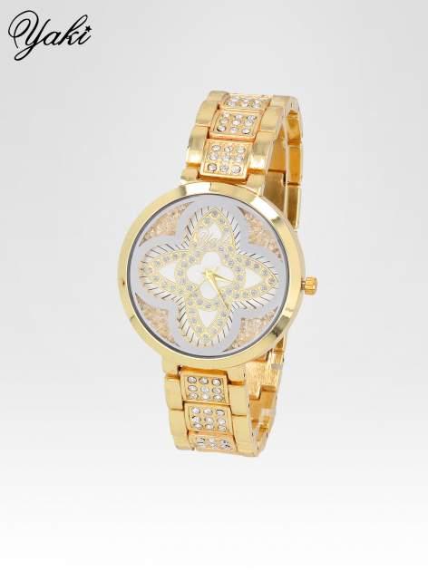 Złoty zegarek damski z motywem kwiatów na biżuteryjnej bransolecie                                  zdj.                                  2