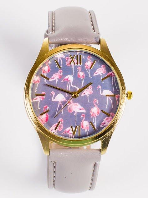 Złoty zegarek damski z tarczą z FLAMINGAMI                                   zdj.                                  1