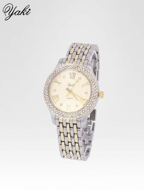Złoty zegarek na bransolecie z cyrkoniami wokół koperty                                  zdj.                                  2