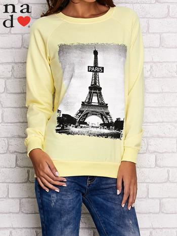 Żółta bluza z motywem Wieży Eiffla                                  zdj.                                  1