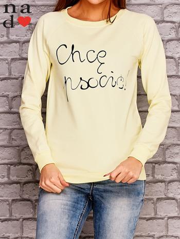 Żółta bluza z napisem CHCĘ PSOCIĆ                                  zdj.                                  1