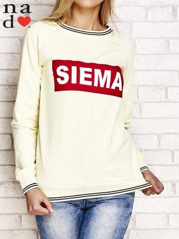 Żółta bluza z napisem SIEMA