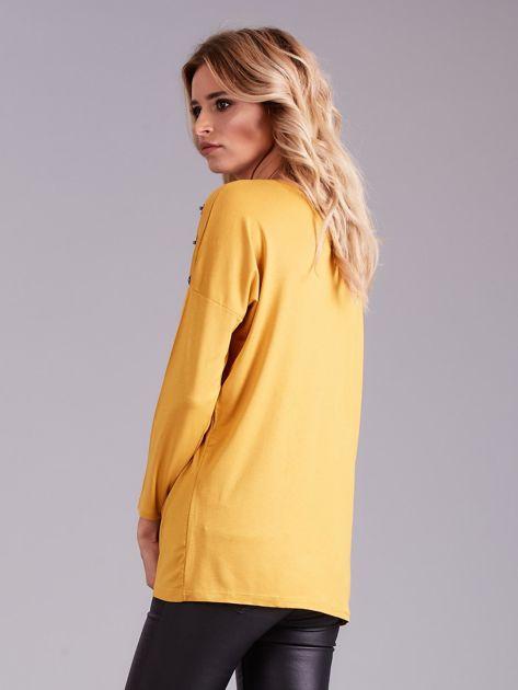 Żółta bluzka damska z aplikacją                              zdj.                              2