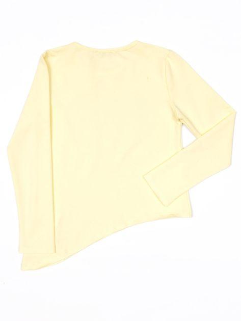 Żółta bluzka dla dziewczynki z cekinowym sercem i dżetami                              zdj.                              2