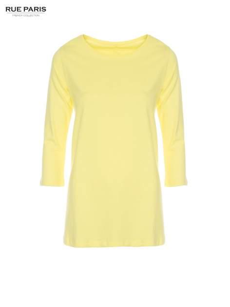 Żółta bluzka o rozkloszowanym kroju z rękawem 3/4                                  zdj.                                  5