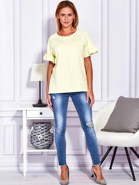 Żółta bluzka z falbanami na rękawach                                  zdj.                                  4