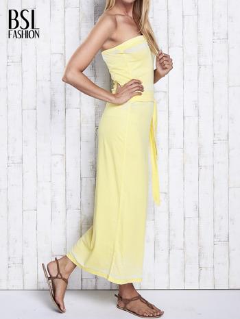 Żółta dekatyzowana sukienka maxi na gumkę                                  zdj.                                  3