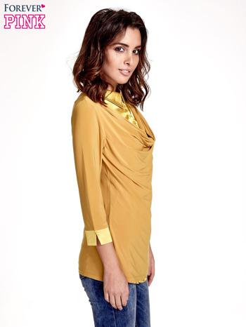 Żółta dwuwarstwowa koszula z rękawem 3/4                                  zdj.                                  3
