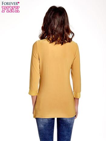 Żółta dwuwarstwowa koszula z rękawem 3/4                                  zdj.                                  2