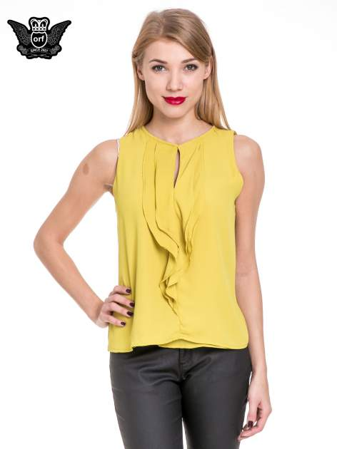 Żółta elegancka koszula z żabotem                                  zdj.                                  1