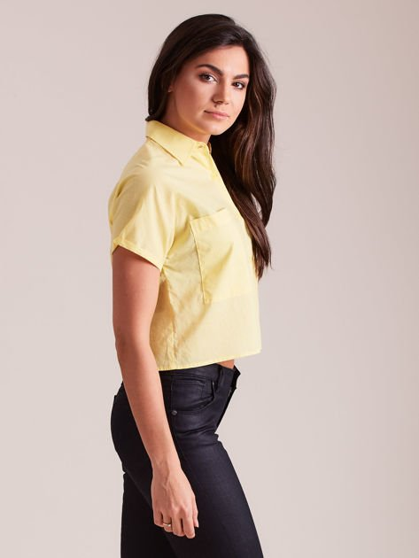 Żółta koszula cropped z kołnierzykiem i kieszeniami                                  zdj.                                  2