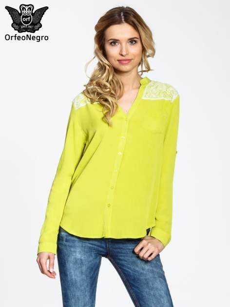 Żółta koszula damska z haftem na ramionach                                  zdj.                                  1