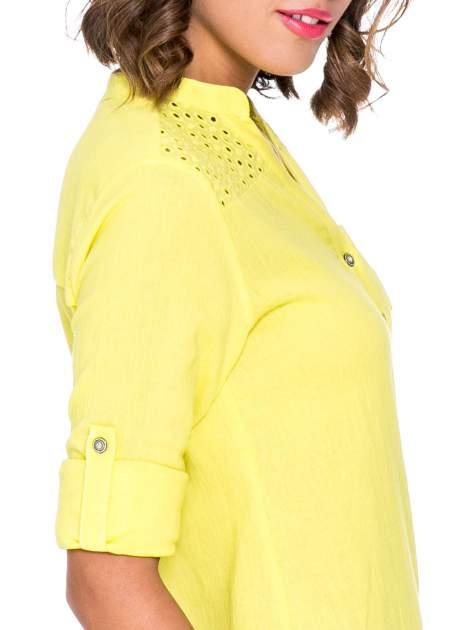 Żółta koszula z ażurowaniem na górze i kieszonką                                  zdj.                                  6