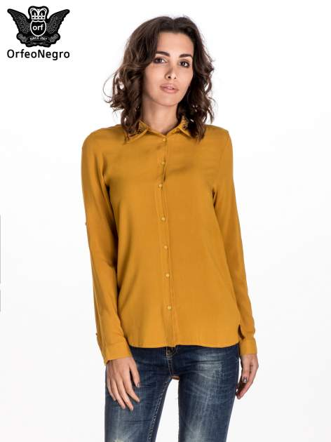 Żółta koszula z haftowanym kołnierzykiem                                  zdj.                                  1
