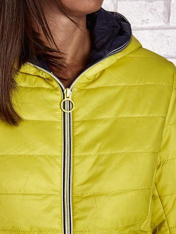 Żółta ocieplana kurtka z kontrastowym wykończeniem kaptura                                  zdj.                                  7