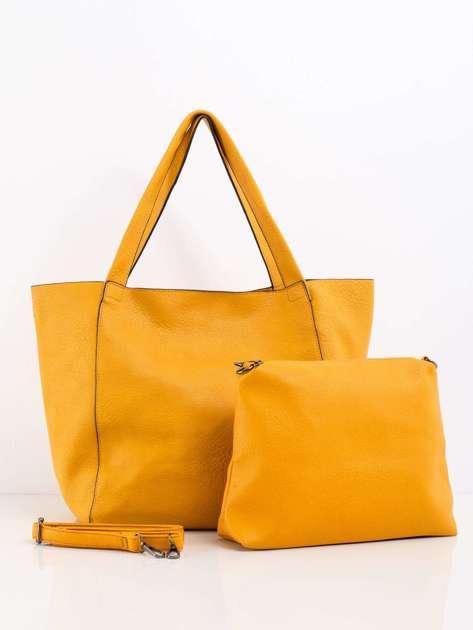 Żółta pojemna torba z ekoskóry