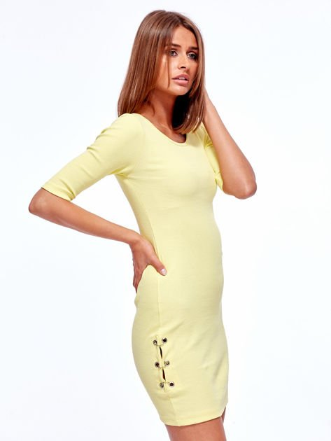 Żółta prążkowana sukienka z kółeczkami                               zdj.                              3