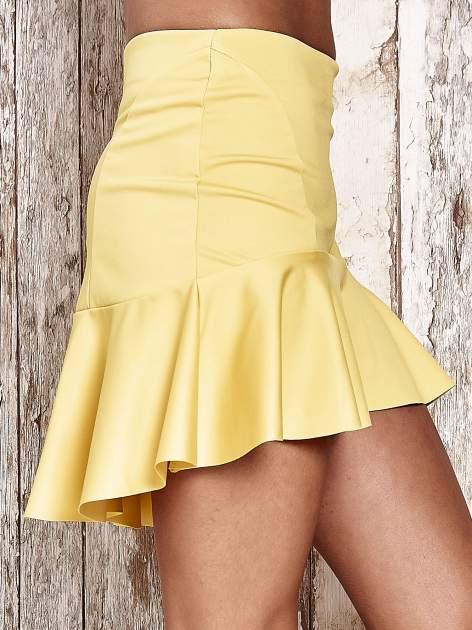 Żólta spódnica mini z falbanką                                  zdj.                                  5