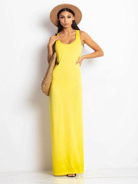 Żółta sukienka maxi z efektem sprania                                  zdj.                                  4