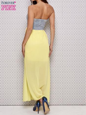 Żółta sukienka maxi z gorsetem z denimu                                  zdj.                                  2