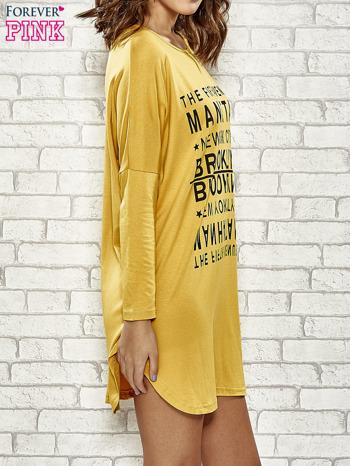 Żółta sukienka z napisem NEW YORK CITY                                  zdj.                                  3
