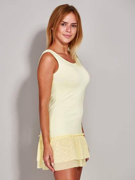 Żółta sukienka z tiulową falbaną                              zdj.                              5