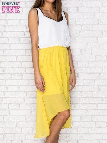 Żółta tiulowa sukienka z krzyżowanymi plecami                                  zdj.                                  3