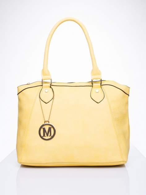 Żółta torba miejska ze złotą zaiweszką