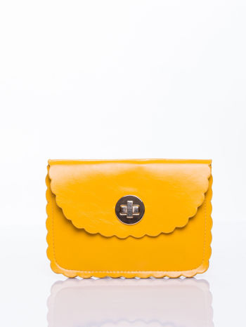 Żółta torebka listonoszka z falowanym wykończeniem                                  zdj.                                  2