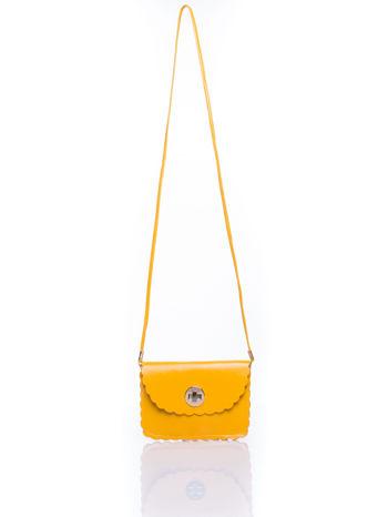 Żółta torebka listonoszka z falowanym wykończeniem                                  zdj.                                  5