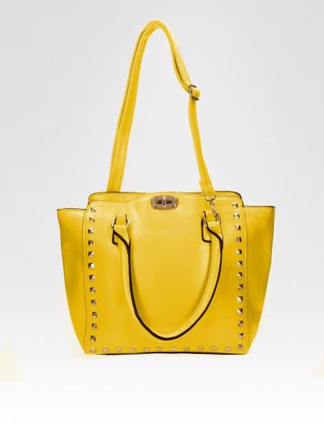 Żółta torebka na ramię z dżetami                                  zdj.                                  4