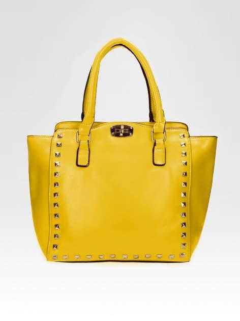 Żółta torebka na ramię z dżetami                                  zdj.                                  5