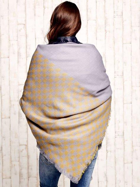 Żółta wełniana chusta w kwadraty                                  zdj.                                  3