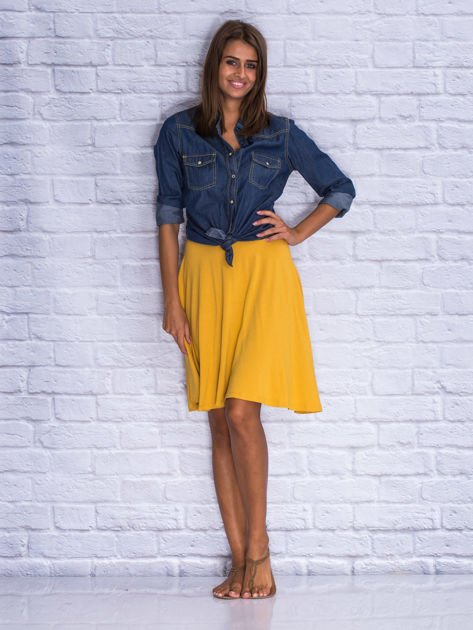 Żółta zwiewna spódnica midi                                  zdj.                                  4