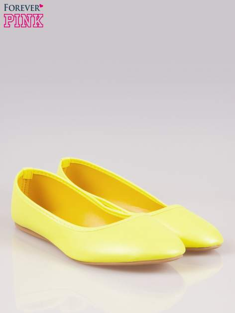 Żółte gładkie balerinki eco leather ze skóry ekologicznej                                  zdj.                                  2