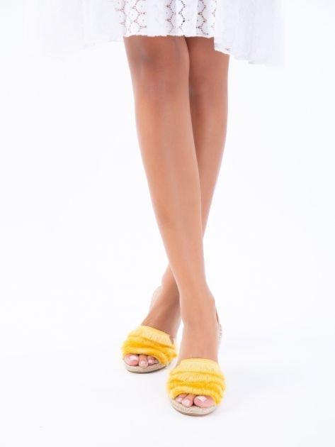 Żółte sandały z ozdobnym frędzelkowym przodem                              zdj.                              8